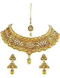 Asmitta Glamorous Traditional Heart Shape Design Gold Plated Choker Style Necklace Set With Mangtikka For Women
