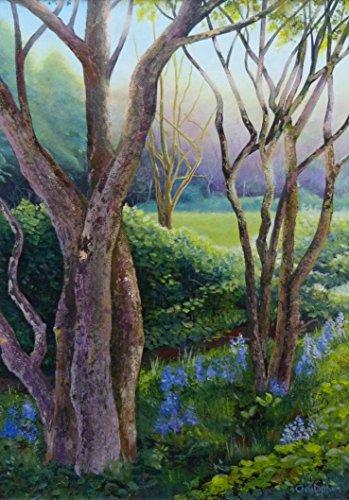 campanule-40cmx30cm-pittura-di-campanule-fiori-selvatici-luce-del-sole-e-ombra-alberi-primavera