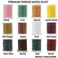 Riverrun Micro Glint Nymph hilo, holo Flat Tinsel, Fluo hilo Mosca Tying Material Orgullosamente de Europa disparador a los peces, 12 Color/set Micro Glint Nymph Thread