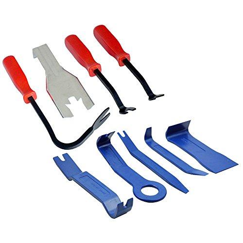 Tooltime Applique® 9 pièces de voiture Trim, corps moulé et garniture Panneau de porte Clip Outil de démontage Ensemble