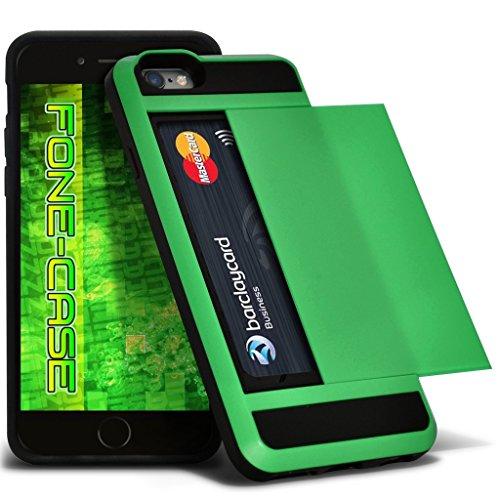 Fone-Case (Gold) Apple iPhone 6 / 6S Tough Armour Couverture rigide de protection antichoc hybride Cas avec emplacement de carte diapositive titulaire Vert