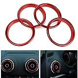 JenNiFer 4Pcs Climatiseur Sortie des Anneaux Décoratifs Lumineux Cercle Rouge pour Audi A3