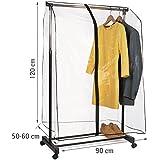Tatkraft SMART COVER - Cubierta transparente para carril de ropas, con cremallera, 53x90x120cm
