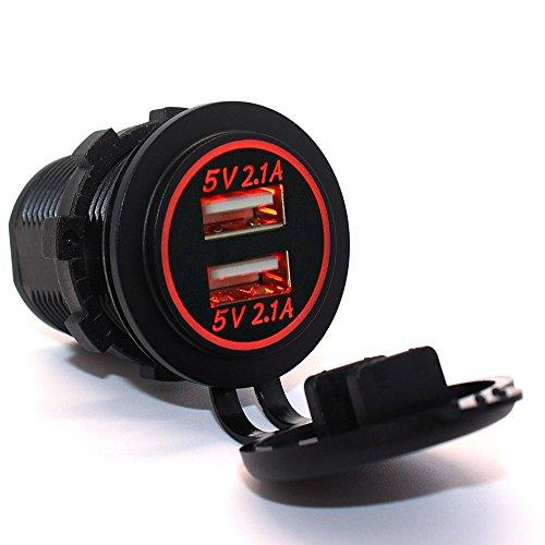 meipire 2Puerto 5V 4.2A Dual USB Enchufe con LED Halo redondas y...