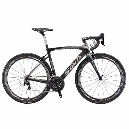SAVADECK Carbon Rennrad, Herd 6.0 T800 Kohlefaser 700C Rennrad Shimano 105 R7000 Groupset 22 Geschwindigkeit Kohlenstoff Radsatz Sattelstütze Gabel Ultra-Licht Fahrrad (Schwarz Grau, 48cm) - Rennrad 48cm