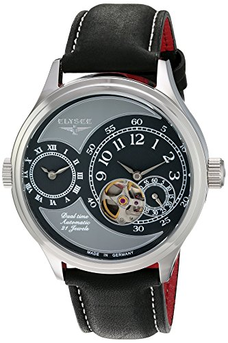 ELYSEE Men's 45mm Black Calfskin Band Steel Case Anti Reflective Sapphire Automatic Grey Dial Watch 80526