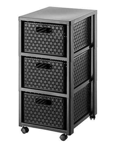 """Rotho Rollcontainer \""""Country\"""" in Rattan-Optik - Rollwagen (37.5x32.5x71.2 cm) mit Schubladen aus Kunststoff (PP) - Schubladenschrank mit 3 Schüben - Schubladenturm in schwarz - Schübe auf beiden Seiten herausnehmbar"""