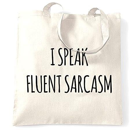 Ich spreche fließenden Sarkasmus Sassy Mittlere Rude lustiger Trendy Teen Slogan Tragetasche