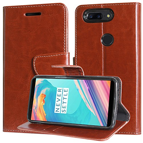 Flip Cover for OnePlus 5T, DMG Premium Leather Wallet Flip Cover Stand Case for One Plus 5T