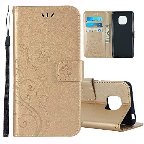 Preisvergleich Produktbild Roreikes Huawei Mate 20 Pro Hülle,  Premium PU Leder Flip Case Tasche Schmetterling Blumen Schutzhülle handyhüllen [Standfunktion][Magnetic Closure] [Kartenfach] für Huawei Mate20 Pro Smartphone