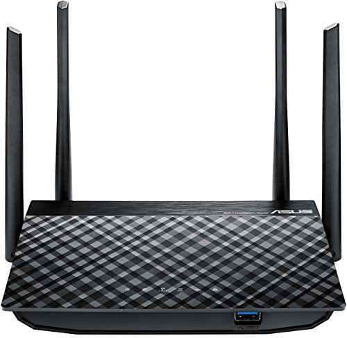 Asus RT AC58U Router Gigabit Wireless AC1300, Dual Band MU-MIMO, Quad Core A7 CPU, 128 MB RAM, 4 Antenne Esterne 5 dBi, Gigabit LAN/WAN, USB 3.0, 8 SSID