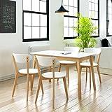WEILANDEAL Fünf Stück Esstisch Set MDF und Birke Material: Lackiert MDF Sitz/Rückenlehne/Tischplatte + Gestell Holz Birke Bad Möbel Sets Badezimmer Möbel Sets