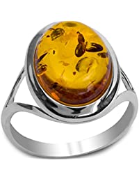 Baltic Honey Amber Sterling Silver Oval Ring