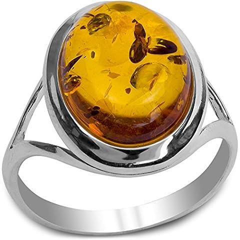 Noda bague en ambre et argent ovale taille