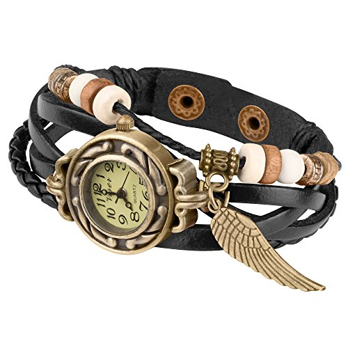 Taffstyle Damen-Armbanduhr Retro Vintage Geflochten Leder-Armband mit Charms Anhänger Analog Quarz Uhr Flügel Gold Schwarz