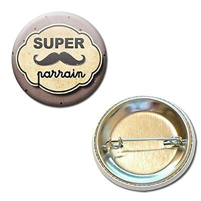 Cadeau Parrain Super Parrain Badge Rond à Épingle 3,8 centimètres Idée Cadeau Accessoire Baptême Communion Noël