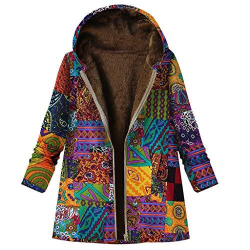 Auiyut Damen Langarm Mantel Wintermantel mit Kapuze Flauschigen Winterjacke Baumwolle Leinen Jacke Boho Stil Gredruckt Freie Grösse Reißverschluss Outwear Plüsch Gefüttert