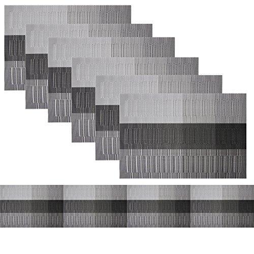 Famibay Tischläufer und Tischsets waschbar Vinyl Platzdeckchen Set von 6 mit passenden Tischläufer für Küche Tisch rutschfeste, Black Mats, 180
