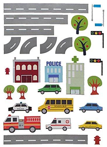 Preisvergleich Produktbild 29 tlg. Set: XXL Wandtattoo / Sticker - Straße mit Auto ´s zum Spielen ! - Wandsticker Aufkleber Fahrzeuge Auto