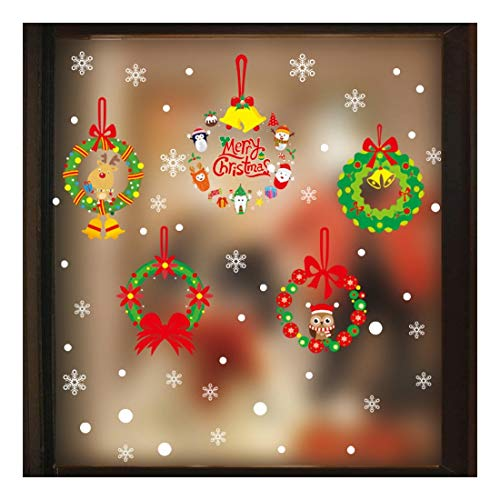 QTZJYLW Christmas Wall Stickers Christmas Wreath Snowflake Pattern Merry Christmas Home Decoration Shop Window Glass Wall Stickers (50×70Cm)