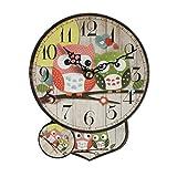 Emartbuy Silenzioso Pendolo Orologio da Parete per Bambini Camera da Letto Soggiorno Cucina Decorazione della Parete - Gufi