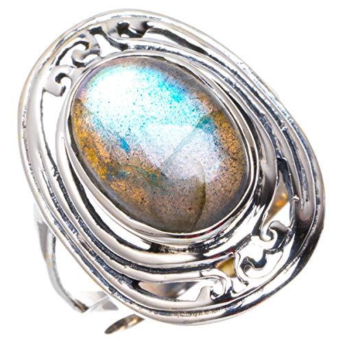 925er Sterling Silber Labradorite Einzigartig Handgefertigt Ringe 18 Blue B1136