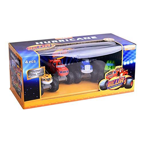 SHYYTYOU 4 Teile / Satz Blaze The Monster Machines Fahrzeug, Jungen und Mädchen Spielzeug Brecher LKW Fahrzeuge, Blaze, Zeg, Streifen, Starla, Darington, Pickle - Mädchen, Monster-lkw-spielzeug
