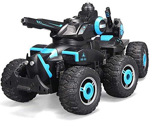MECFIGH Fernbedienung Auto-2.4Ghz 4WD High Speed   All Richtung Antrieb Behälter-Buggy RC Car Kampf Stunt Car Wasser-Spray 6 Räder Monster Truck-Träger-Spielzeug-Kind-Geschenk-Blau
