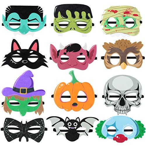 Toyvian 12pcs Halloween Masken, Filz Maske Maskerade Cosplay Maske für Kinder Halloween Birthday Party Favors
