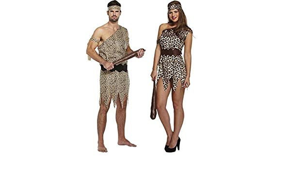 Caveman Dress Up Ideas : Mens ladies caveman and cavewoman matching couples fancy dress