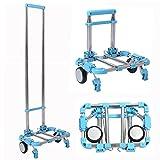 Eunicom carrello pieghevole portatile resistente e di lunga durata, in lega di alluminio, ideale per la spesa al supermercato e per trasporto bagagli in aeroporto, capacità 30 kg, Blue, 1