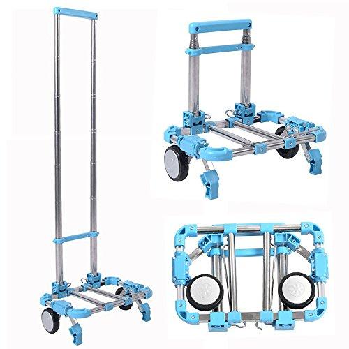Chariot télescopique pliant haute résistance pour bagages, courses, aéroport en alliage d'aluminium avec capacité de 30 kg par Eunicom, bleu, 1