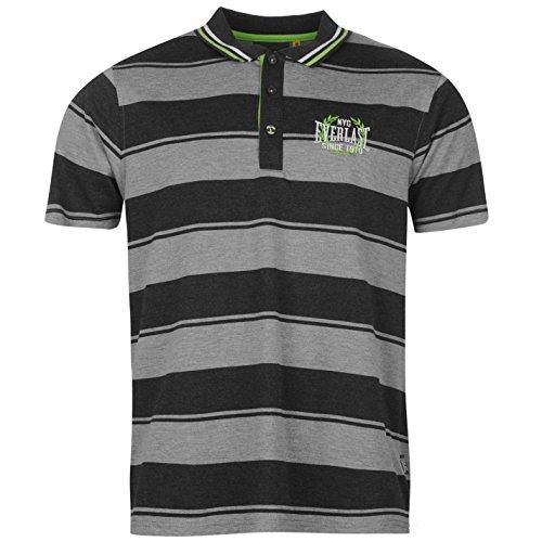 Everlast Yarn Dye Bold Stripe Herren Polo T Shirt Kurzarm Freizeit Polohemd Tee Grey/Char Small -