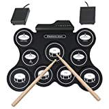 YTBLF Tragbare USB Roll up Drum Kit Digital Elektronische Batterie 9 Silicon Pad Mit Drumstick Pedal Für Kinder Anfänger