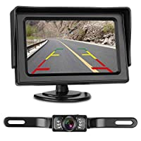 LeeKooLuu Reverse/Rear View Camera and Mirror Monitor Kit Only Wire Single Power Rear View/Full Time View Optional for Car Truck With 7 LED Night Vision WaterProof Grid Lines 6