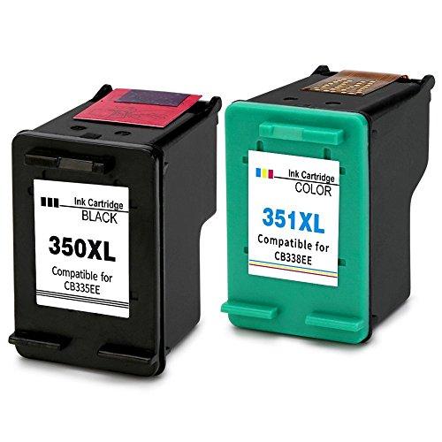 Kyansin Remanufacturado HP 350 351 Cartuchos de tinta Reemplazo de 350XL 351XL Compatible para HP Photosmart C4580 C4585 C4480 C4380 C5280 C4280 C4580 C4585 C4500 C4485, paquete de 2 (1 negro, 1 color)