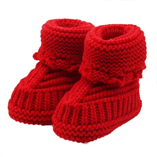 Yogogo Toddler bébé Handcrafted Chaussures Knitting dentelle crochet Chaussures Boucle Rouge