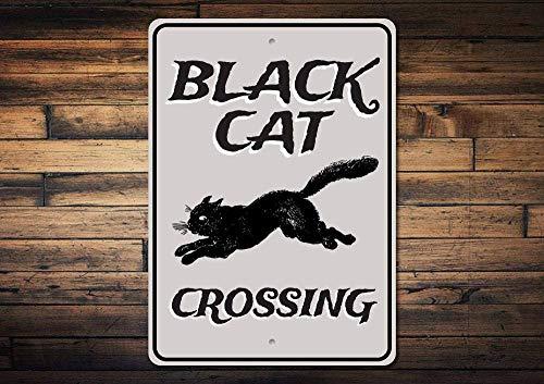 A Homim Schwarzes Katzenschild, Schwarze Katze, Halloween-Katzenschild, Geschenk für Katzenliebhaber, Katze, Bad Luck, Metallschild, 20,3 x 30,5 cm