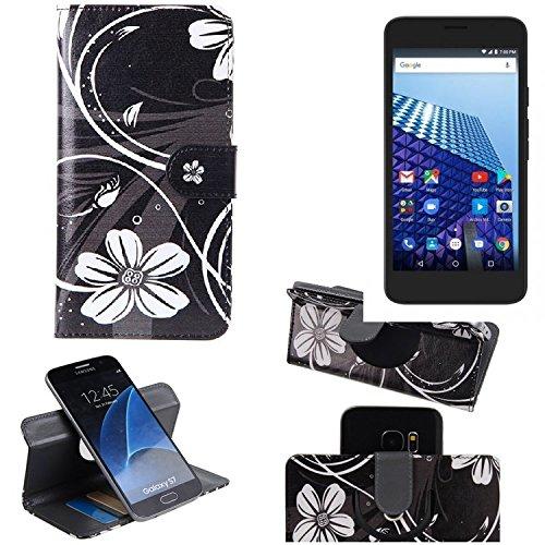 K-S-Trade® Schutzhülle Für Archos Access 55 3G Hülle 360° Wallet Case Schutz Hülle ''Flowers'' Smartphone Flip Cover Flipstyle Tasche Handyhülle Schwarz-weiß 1x