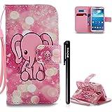 BtDuck Kompatibel mit Samsung Galaxy S4 Rosa Hülle Leder Magnet Ultra Slim Buntes Muster Stand Flip Tasche Lederhülle Weich Silikon Back Cover Kartenfächer Brieftasche Mädchen Elefant Elefant