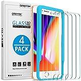 [4 Stück] OMOTON Schutzfolie kompatibel für iPhone 8/7/ 6/ 6s, mit Schablone, 9H Härte, Anti-Kratzen, Anti-Öl, Anti-Bläschen