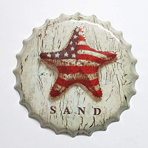 Eureya Metallschild Bierflaschenverschluss für Zuhause, Café, Bar, Wanddekoration, 35 x 35 cm - Perfektes Souvenir, Sand, 35X35cm - Sand-souvenir-flasche