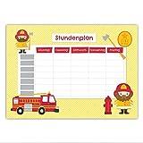 Papierdrachen Stundenplan Schule DIN A4 Block - Motiv Feuerwehr - beschreibbar zum Aufhängen und für ins Schulheft - Terminkalender Wochenplan