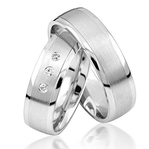 Eheringe Verlobungsringe Trauringe Freundschaftsringe Silber 925 Sterling *inkl. GRATIS Etui und Steinen* S035-S