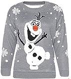 Zara Fashion -Women Christmas Olaf Frozen Neuheit Weihnachten Pullover (SM, GREY)