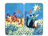 Wenko 2521411500 Herdabdeckplatte Universal Rosina Wachtmeister - 2er Set, für alle Herdarten, Glas - Gehärtetes Glas, 30 x 1,8-4,5 x 52 cm, Mehrfarbig