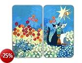 WENKO 2521411500 Coprifuochi vetro Universale Rosina Wachtmeister - set 2 pezzi, per tutti i tipi di piani di cottura, Vetr - Vetro temperato, 30 x 1.8-4.5 x 52 cm, Multicolore