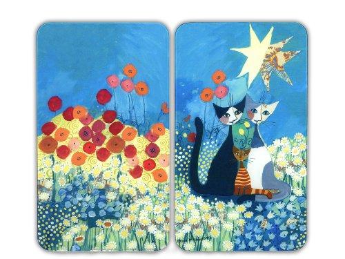 Preisvergleich Produktbild Wenko 2521411500 Herdabdeckplatte Universal Rosina Wachtmeister - 2er Set, für alle Herdarten, Glas - Gehärtetes Glas, 30 x 1,8-4,5 x 52 cm, Mehrfarbig