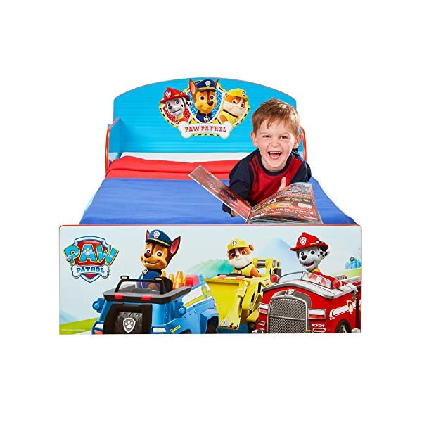 Paw Patrol Kids 505PWP Toddler Bed by HelloHome - Red/Blue Paw Patrol Drift off dreaming with your favourite Paw Patrol characters. Perfect size for toddlers, low to the ground with protective and sturdy side guards to keep your little one safe and snug. Fits a standard cot bed mattress size 140cm x 70cm, mattress not included. Part of the Paw Patrol bedroom furniture range from HelloHome 6
