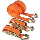 Braun 1000-2-600+3040/VE2 - Pulpo con hebilla y ganchos para baca (2000 daN, 2 piezas, 6 m, 35 mm de ancho), color naranja